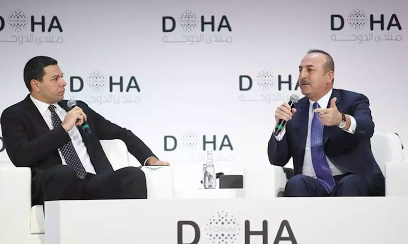 مولود جاويش أوغلو خلال منتدى الدوحة الـ19 -14 كانون الأول 2019 (الأناضول)