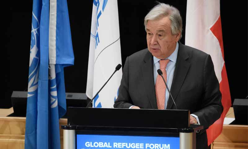 الأمين العام للأمم المتحدة أنطونيو غوتيريش في المؤتمر العالمي الأول للاجئين في جنيف - 17 كانون الأول 2019 (VOA)