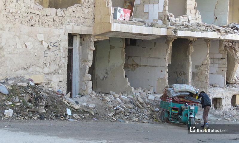 آثار القصف على معرة النعمان -18 كانون الأول 2019 (عنب بلدي)