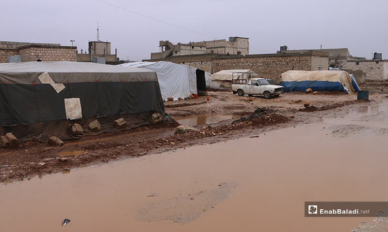 أوضاع إنسانية صعبة يعيشها النازحين في مخيم دابق بريف حلب الشمالي - 14 من كانون الأول 2019 (عنب بلدي)