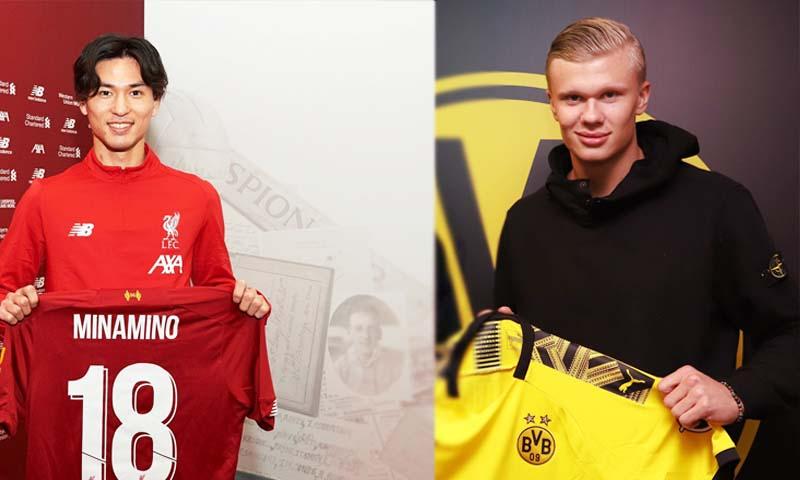 إيرلينج هالانج ومينمانو لاعبا ريد بول سازبورغ ينتقلان إلى بروسيا دورتموند وليفربول (ليفربول ودورتموند تويتر)
