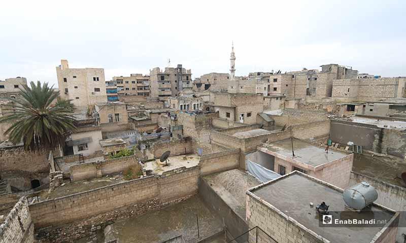 مدينة معرة النعمان بريف إدلب الجنوبي خالية من سكانها بسبب التصعيد العسكري من النظام وروسيا 29 كانون الأول 2019 (عنب بلدي)