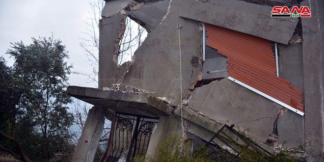 انهيار منزل من ثلاث طوابق في ريف اللاذقية - 8 كانون الثاني 2020 (سانا)