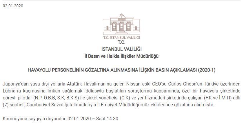 بيان صادر عن مكتب محافظ اسطنبول حول الموقوفين في قضية تهريب كارلوس بو غصن، 2 كانون الثاني 2019 (İSTANBUL VALİLĞİ)