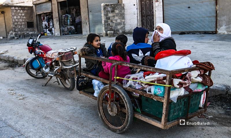 نزوح السوريين من ريف حلب الغربي 14 كانون الثاني 2019 خاص عنب بلدي