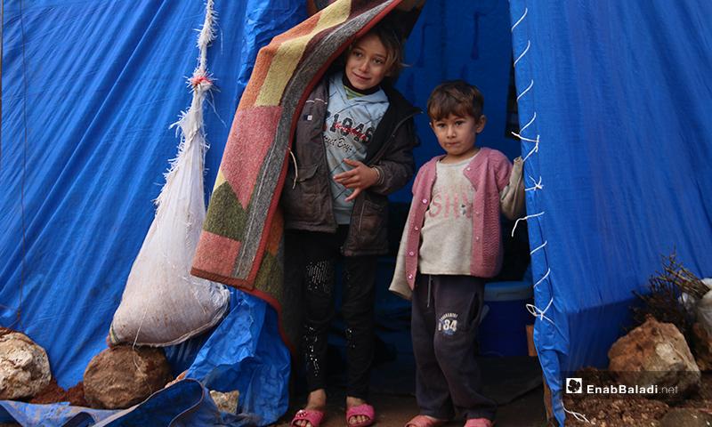 أطفال ينظرون من باب الخيمة التي يعيشون فيها للخارج بريف حلب الغربي - 19 من كانون الثاني 2020 (عنب بلدي)