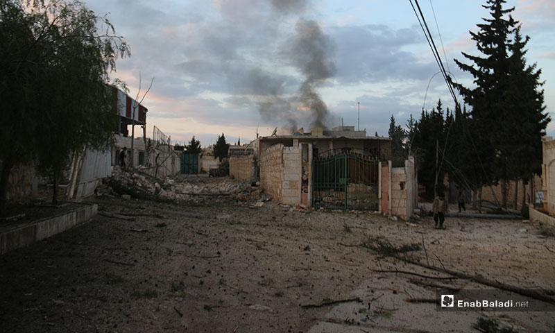 غارة جوية استهدفت بلدة كفرناها بريف حلب الغربي - 21 من كانون الثاني 2020 (عنب بلدي)