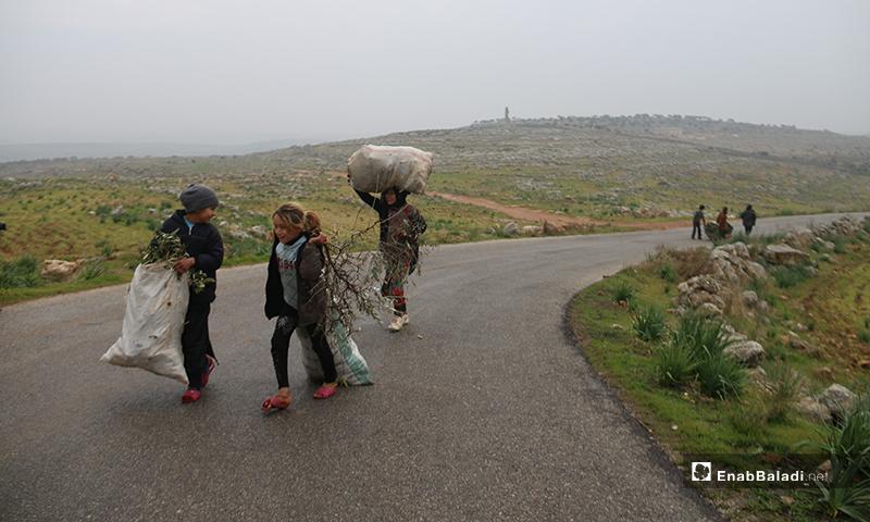 أطفال يحاولون سحب أكياس محملة بالحطب من أجل التدفئة قرب آثار دير عمان بريف حلب الغربي - 19 من كانون الثاني 2020 (عنب بلدي)