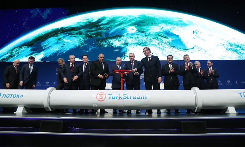الرئيسان التركي والروسي رجب طيب أردوغان وفلاديمير بوتين خلال افتتاح خط غاز السيل التركي في اسطنبول - 8 كانون الثاني 2020 (وزارة الطاقة التركية)