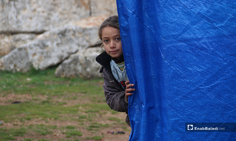 طفلة تنظر من باب الخيمة التي تيعش فيها للخارج بريف حلب الغربي - 19 من كانون الثاني 2020 (عنب بلدي)
