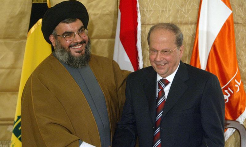 الرئيس اللبناني، ميشيل عون، وزعيم حزب الله حسن نصرالله (رويترز)