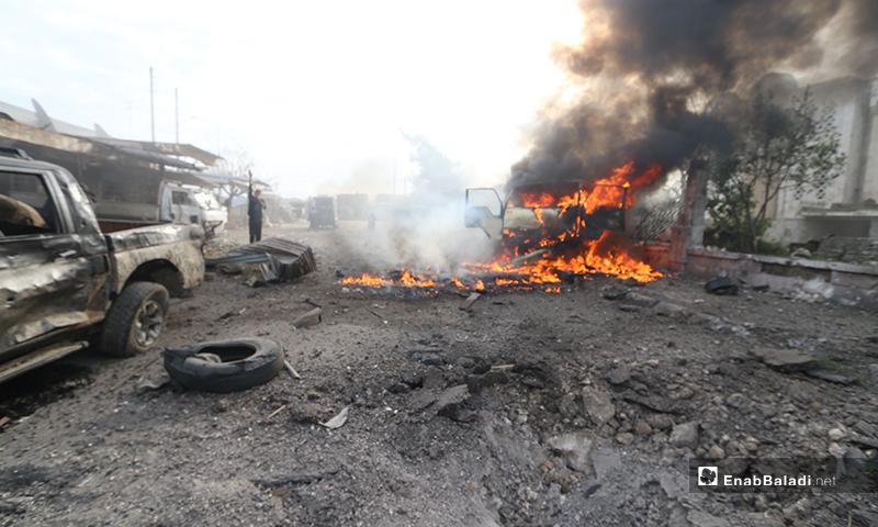 آثار القصف على سوق الهال في مدينة إدلب- 15 من كانون الثاني 2020 (عنب بلدي)