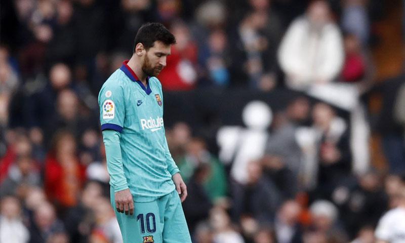 ميسي أثناء مباراة برشلونة وفالنسيا- 25 كانون الثاني 2020 (ESSENTIALLY SPORTS)
