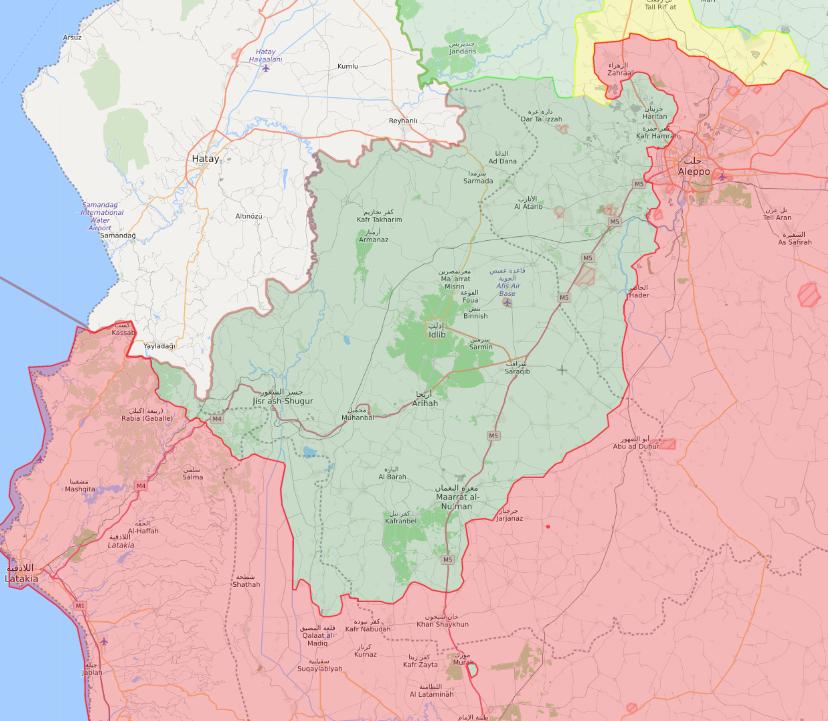 خريطة تظهر توزع السيطرة في ريف منطقة إدلب - 25 كانون الثاني 2019 (Livemap)