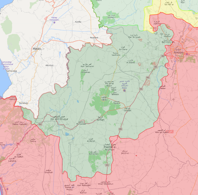 خريطة السيطرة الميدانية في محافظة إدلب - 27 كانون الثاني 2019 (Livemap)