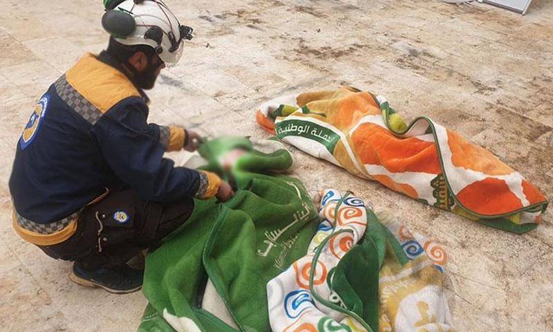 ضحايا إثر قصف قوات النظام وروسيا على مركز إيواء غربي حلب -18 كانون الثاني 2020 (الدفاع المدني)