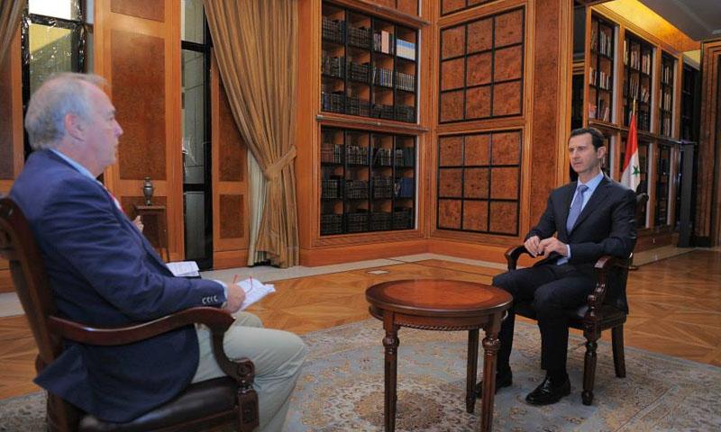 الرئيس السوري، بشار الأسد في مقابلة مع وكالة الصحافة الفرنسية (سانا)