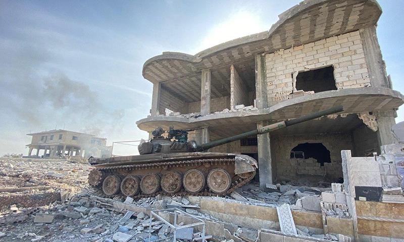 استيلاء قوات النظام على مدينة معرة النعمان (قناة Oleg Blokhin على تلغرام)