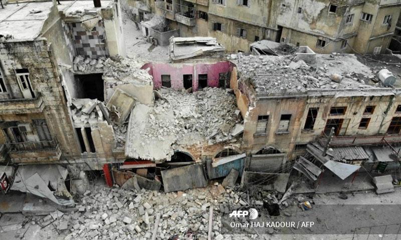 قصف النظام السوري على مدينة أريحا - 15 كانون الثاني 2020 (فرانس برس)