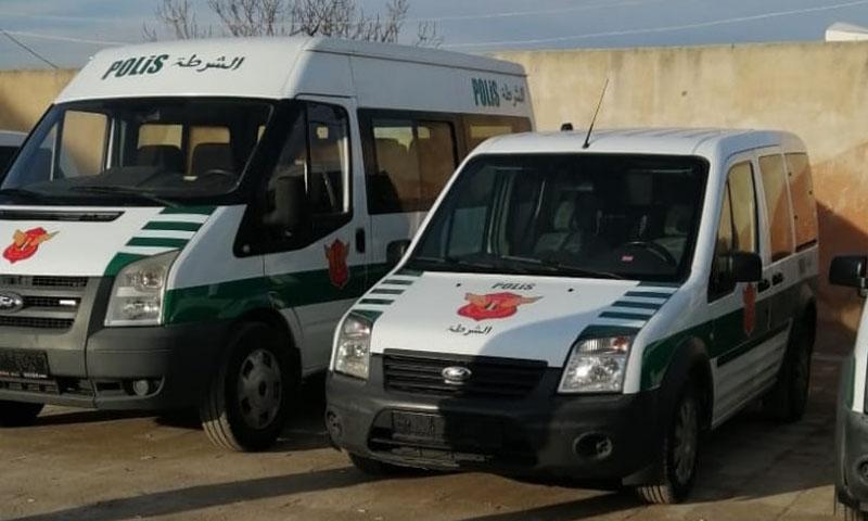 سيارات شرطة سلمتها وزارة الداخلية في الحكومة السورية المؤقتة لقطاع الشرطة في رأس العين وتل أبيض - 12 كانون الثاني 2020 (صفحة الوزارة - فيس بوك)