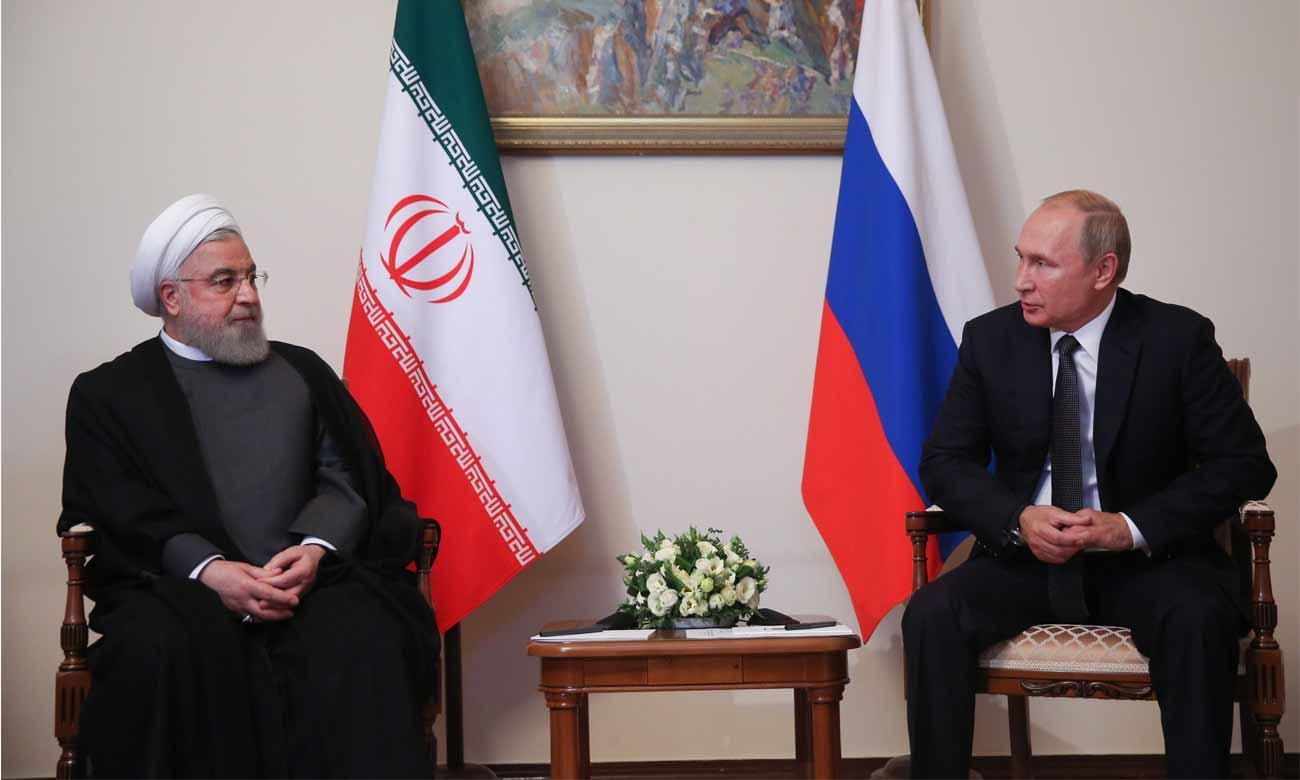 الرئيس الروسي فلاديمير بوتين مع الرئيس الإيراني حسن روحاني في إيران - 1 تشرين الأول 2019 (وكالة الأناضول)