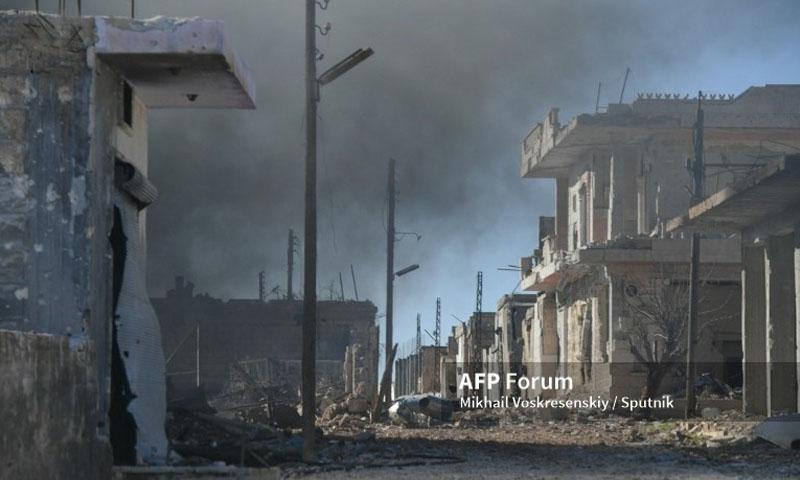 آثار قصف قوات النظام على قرية الدير الشرقي التابعة لمعرة النعمان - 25 كانون الثاني 2020 (فرانس برس)