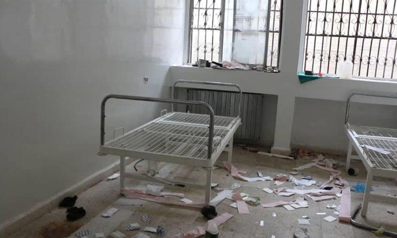 خروج المشفى المركزي في معرة النعمان بعد القصف -8 كانون الثاني 2020 (الدفاع المدني )