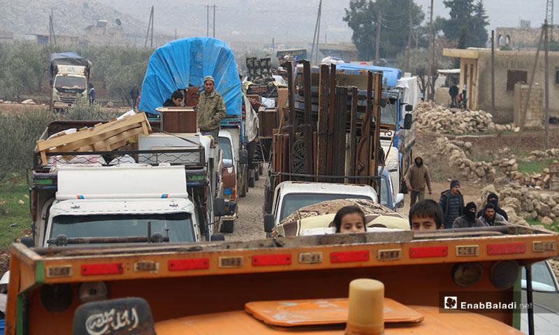 نزوح العائلات من ريفي حلب الجنوبي والغربي إلى مناطق اعزاز وعفرين -18 كانون الثاني 2020 (عنب بلدي)