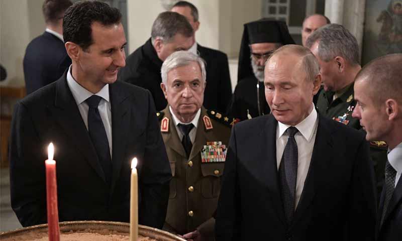 رئيس النظام السوري بشار الأسد والرئيس الروسي فلاديمير بوتين في دمشق- 7 من كانون الثاني 2020 (رئاسة الجمهورية)
