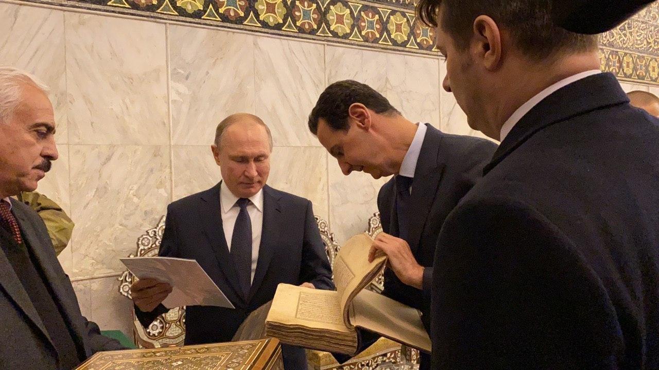 رئس النظام السوري بشار الأسد والرئيس الروسي فلاديمير بوتين في المسجد الأموي بدمشق- 7 من كانون الثاني 2020 (رئاسة الجمهورية)