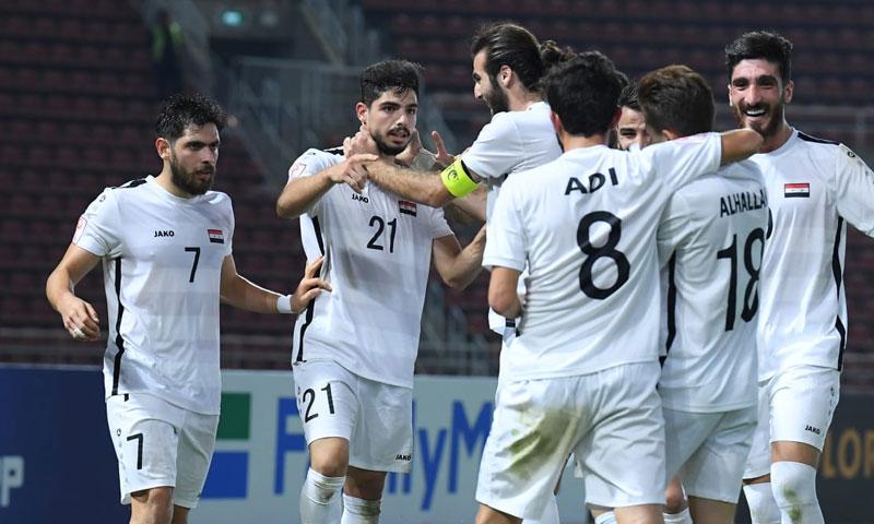 احتفال المنتخب السوري الأولومبي بهدف التعادل (الموقع الرسمي للاتحاد الآسيوي لكرة القدم)