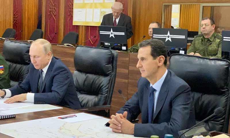 رئيس النظام السوري بشار الأسد والرئيس الروسي فلاديمير بوتين في دمشق- 7 من كانون الثاني 2020 (رئاسة الجمهورية السورية)