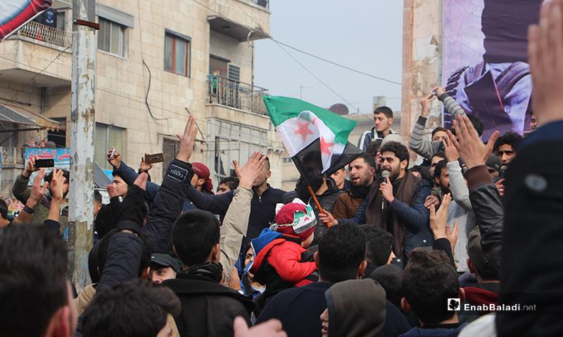 مظاهرات شعبية في مدينة إدلب تطالب بوقف التصعيد العسكري على المنطقة 3 كانون الثاني 2020 (عنب بلدي)