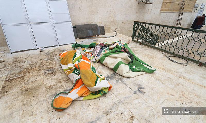 مقتل عائلة كاملة من النازحين جراء قصف جوي لقوات النظام وروسيا على جمعية بالا لإيواء النازحين غربي حلب -18 كانون الثاني 2020 (عنب بلدي)