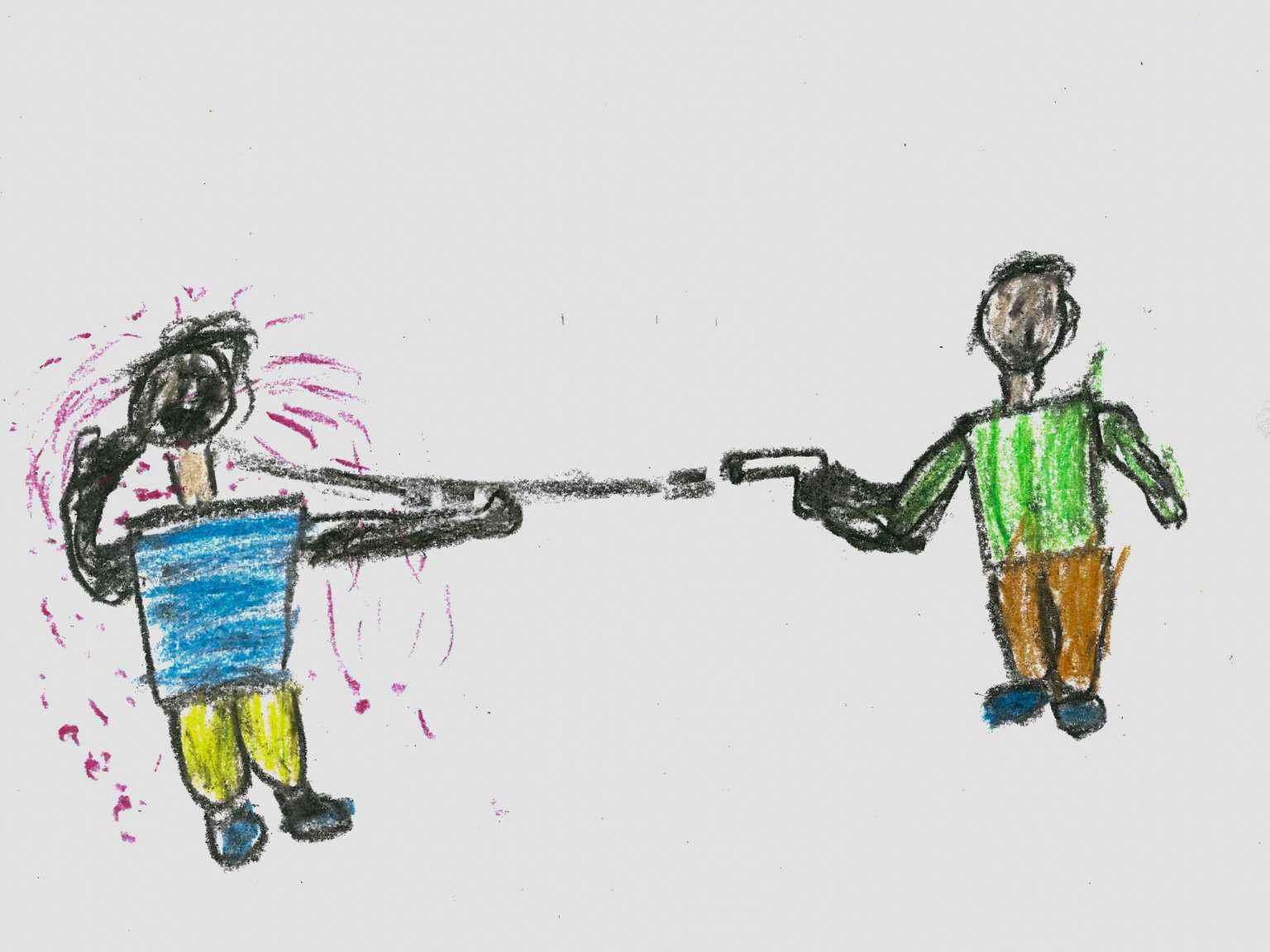 """لوحة لطفل عمره 11 عامًا، نزح مع أسرته في عام 2012 من دمشق، """"رسمت فيها رجلًا مسلحًا يطلق النار على رجل بريء، لأنني أعرف الكثير من الناس الذين ماتوا منذ البداية من الحرب""""-كانون الأول 2016 (يونيسيف)"""