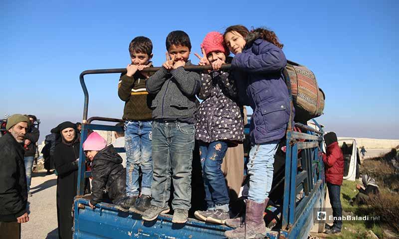 أطفال سوريون مشاركون بحملة من إدلب إلى برلين - 2 شباط 2020 (عنب بلدي)
