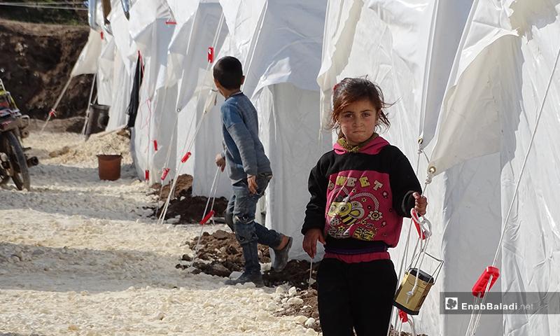طفلة في مخيم التل في بلدة دابق الذي شيد بعد موجات النزوح الأخيرة من أرياف إدلب وحلب- شباط 2020 (عنب بلدي)