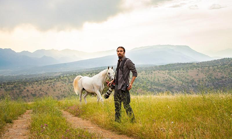 """بنكين أحمد الحاصل على لقب """"التاج الأول"""" للتصوير الضوئي أثناء جلسته في تصوير الخيل- كردستان العراق 2015 (بنكين أحمد)"""