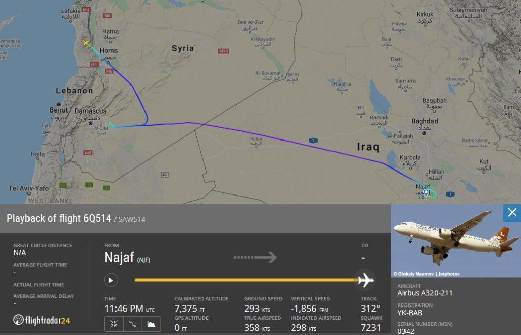 خريطة توضح مسار الطائرة التي هبطت في قاعدة حميميم العسكرية (Flightradar)