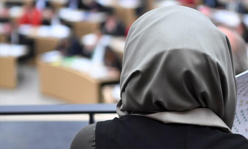 امرأة تشاهد مناقشة برلمانية في ولاية بادن-فورتمبيرغ (DPA)