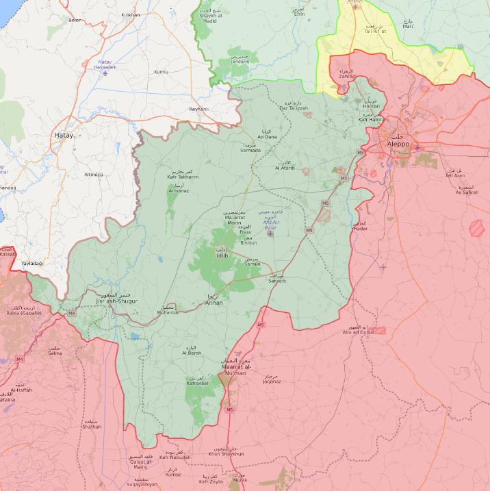 خريطة السيطرة الميدانية في شمال غربي سوريا - 2 شباط 2020 (Livemap)