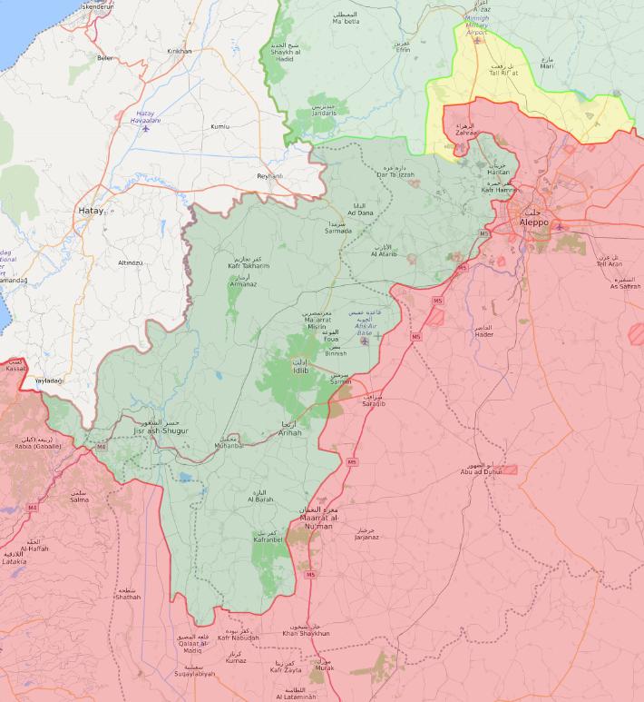 خريطة السيطرة الميدانية في شمال غربي سوريا - 11 من شباط 2020 (Livemap)