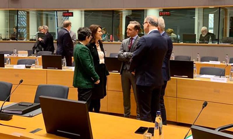 وزيرة الخارجية السويدية، آنا ليند، مع نظرائها في الاتحاد الأوروبي-17 من شباط (Ann Linde/Facebook)