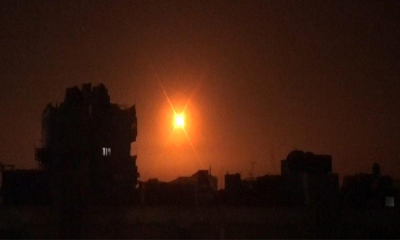 صورة للقصف الإسرائيلي الذي استهدف دمشق-6 من شباط (سانا)