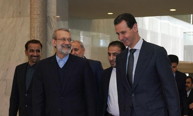 بشار الأسد وعلي لاريجاني - 16 من شباط 2020 (رويترز)