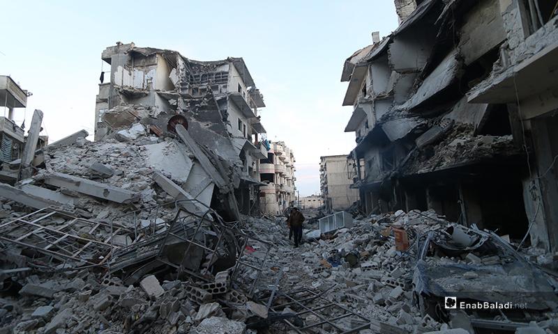 آثار القصف على مدينة أريحا - 30 كانون الثاني 2020 (عنب بلدي )