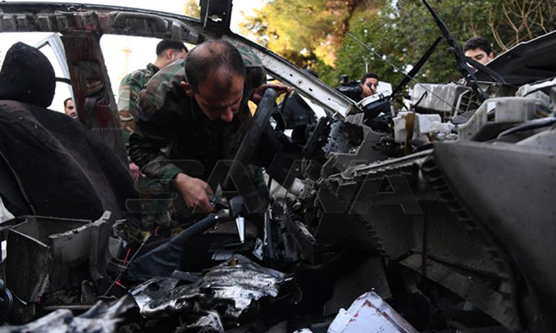 انفجار عبوة ناسفة في سيارة بدمشق - 25 من شباط 2020 (سانا)