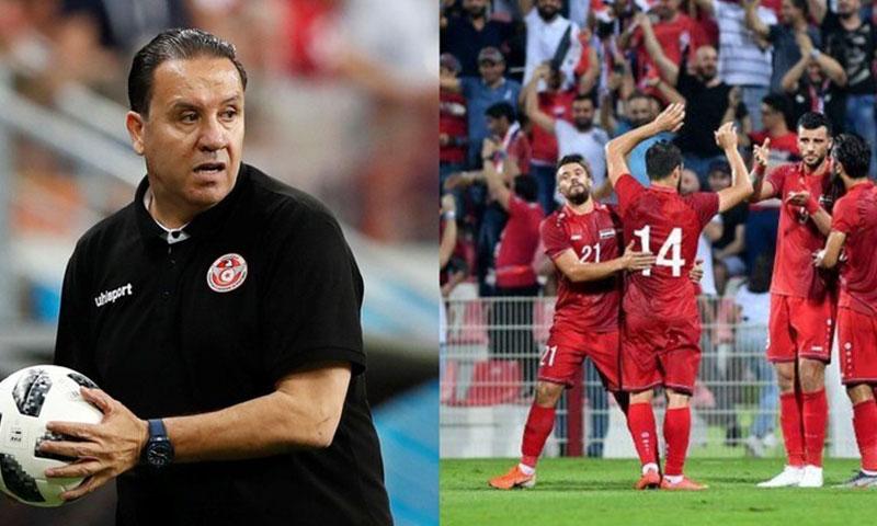 لاعبوا المنتخب السوري- يمين والمدرب التونسي نبيل معلول- يسار (تعديل عنب بلدي)