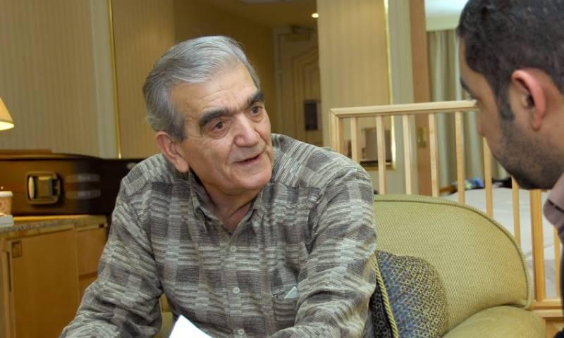 سهيل زكار أثناء أحد اللقاءات الصحفية 2010 (الصحفي خالد العلوي)