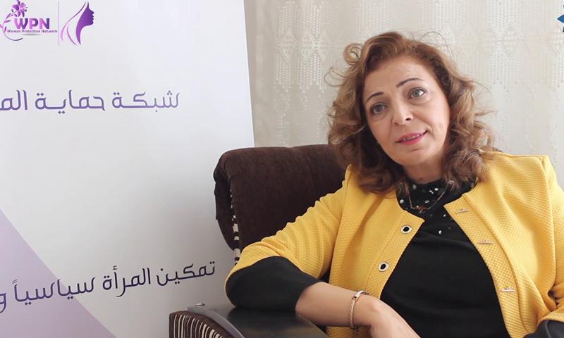 """مديرة """"شبكة حماية المرأة"""" غيثاء الأسعد - 30 كانون الثاني 2020 (توليب أزرق)"""